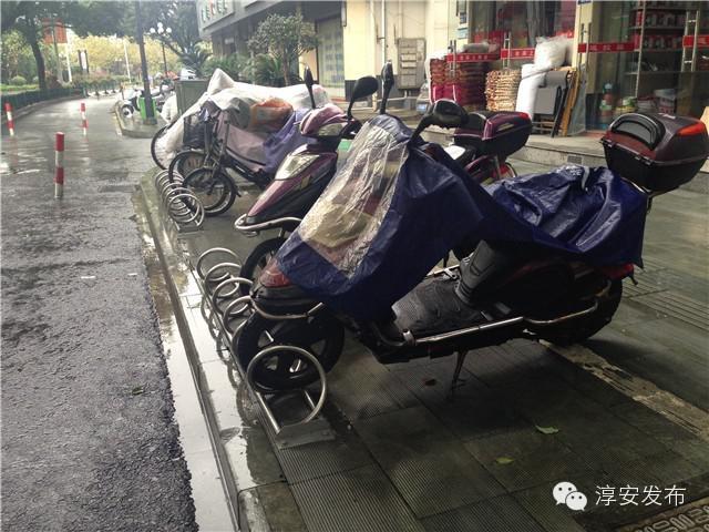 """吸引了不少自行车和电瓶车""""光顾"""",车主都用链子将车锁在了停车架上."""